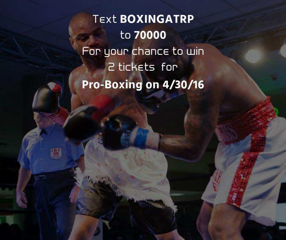 Text BOXINGATRP to 7000 for a chance to win 2 tickets to PRO HD #BOXING on 4/30! #WinAtRemington @hdboxing https://t.co/V7lnErYUEO
