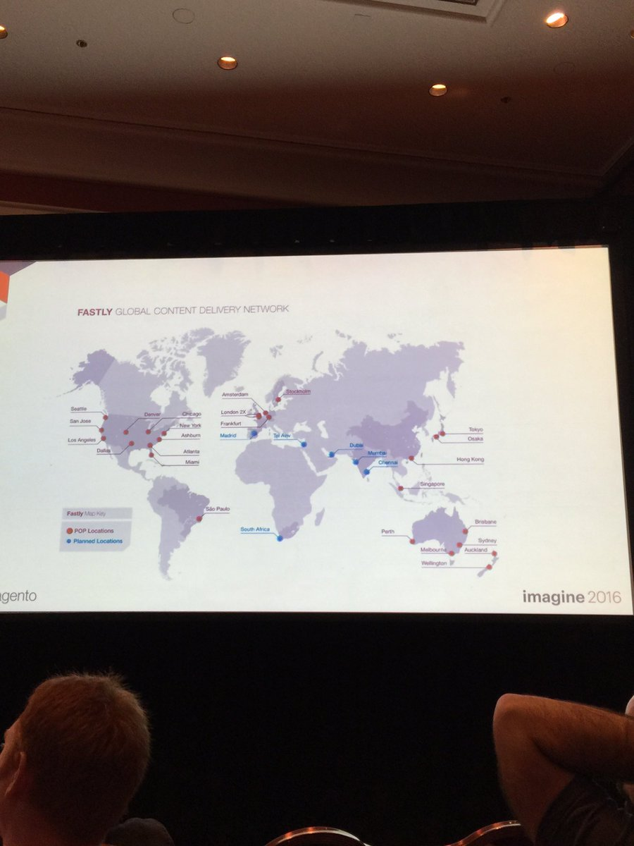 JoshuaSWarren: With your #MagentoCloud subscription your content is pushed out to these CDN locations. #MagentoImagine https://t.co/p1Nk3ukZHI