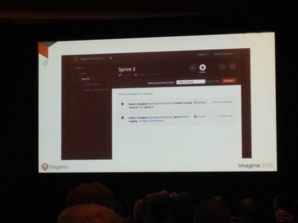 netz98: It's possible to deploy a complete system based on a single git branch in Magento Enterprise Cloud. #MagentoImagine https://t.co/zWfG11rIij