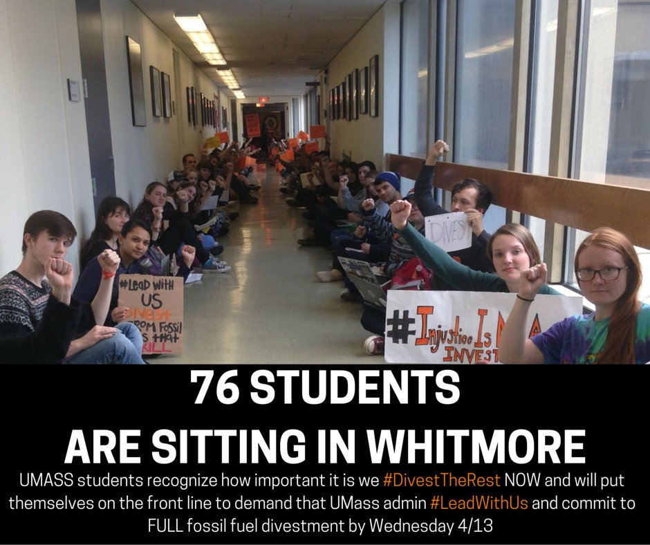 76 @UMassAmherst students entering day two of their sit-in for full divestment from fossil fuels #SitAtWhit https://t.co/H19iyoMs9q
