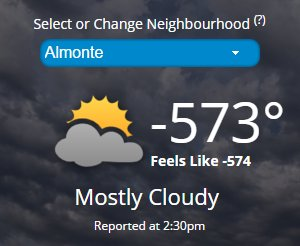 """A moment of silence for Almonte. Seriously though, I like how the """"feels like"""" is 1 degree colder. https://t.co/ygEZQyyiTb"""