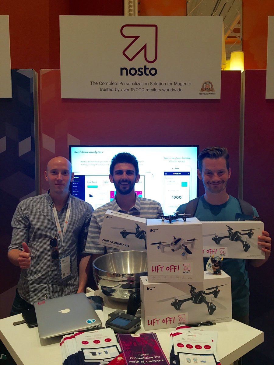NostoSolutions: The boys at @Volcom looking pretty happy with their new Nosto drones! #MagentoImagine https://t.co/r0D0leGI0p