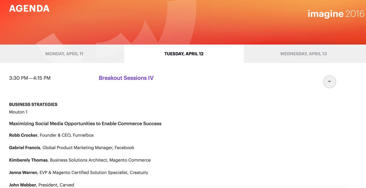 magentogirl: Join me at 'Maximizing Social Media Opportunities to Enable Commerce Success' at 3:30 Mouton 1 #MagentoImagine https://t.co/Am9tWXj3yj
