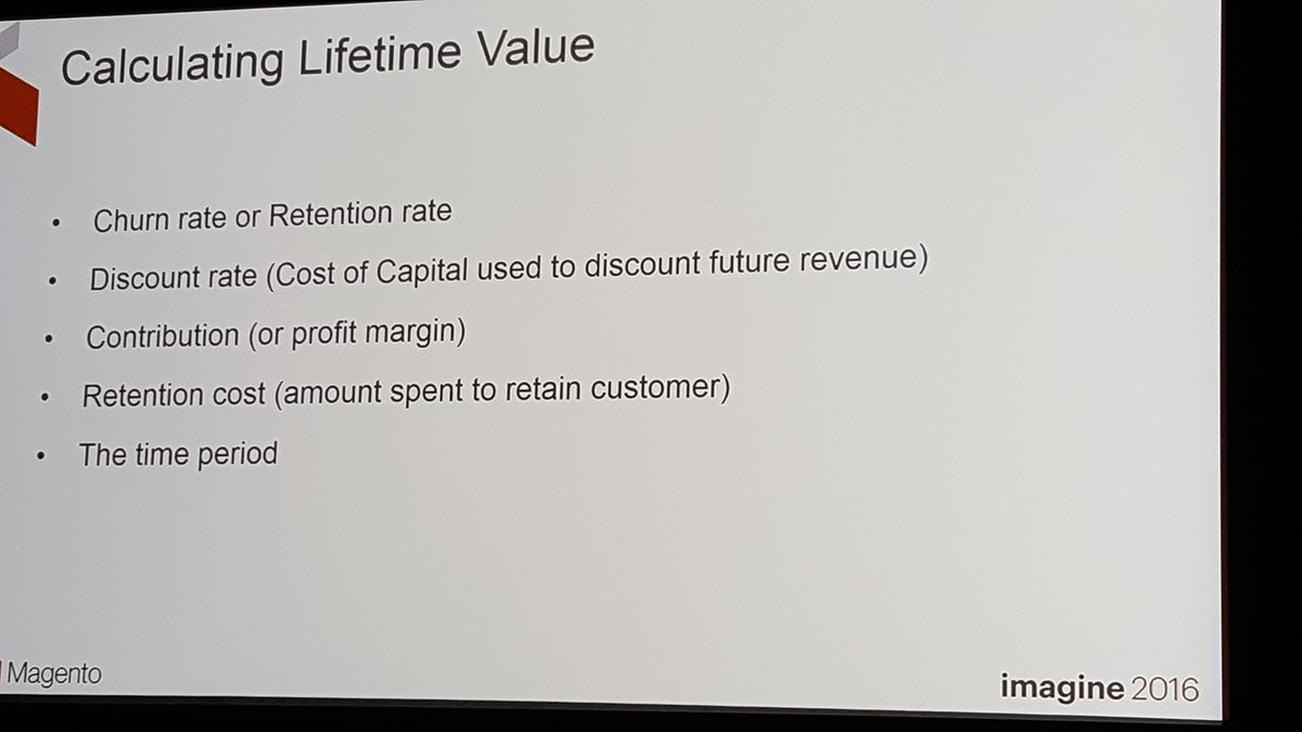 mgoldman713: How do you calculate a customer's lifetime value? @janiali explores this thru ERP. #MagentoImagine https://t.co/OlVV2xvPFr