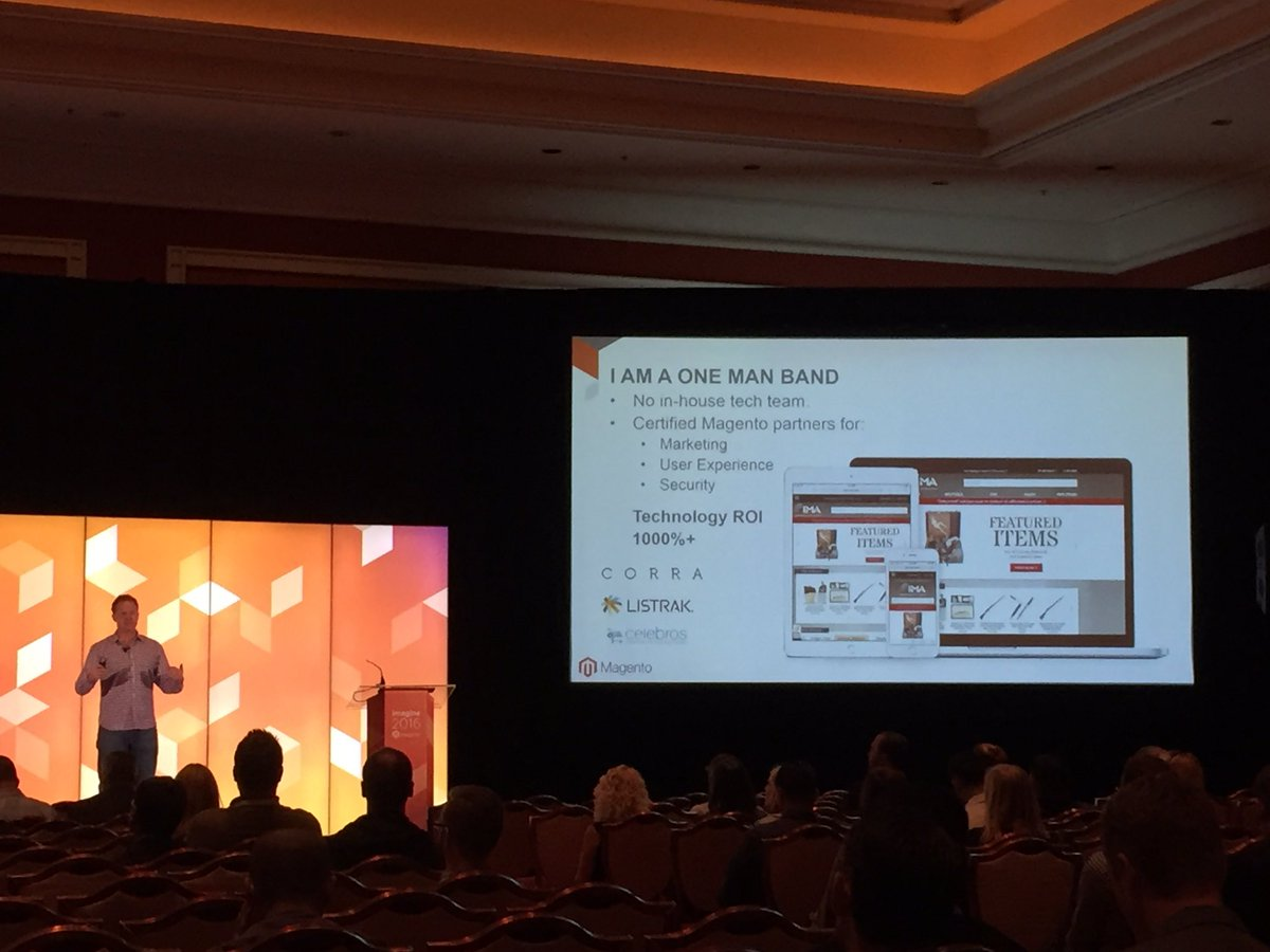 magento_rich: Alex Cranmer from https://t.co/6RlB0SpB8q, on how he built his site without in-house devs. #MagentoImagine https://t.co/7B3RCk0FRA
