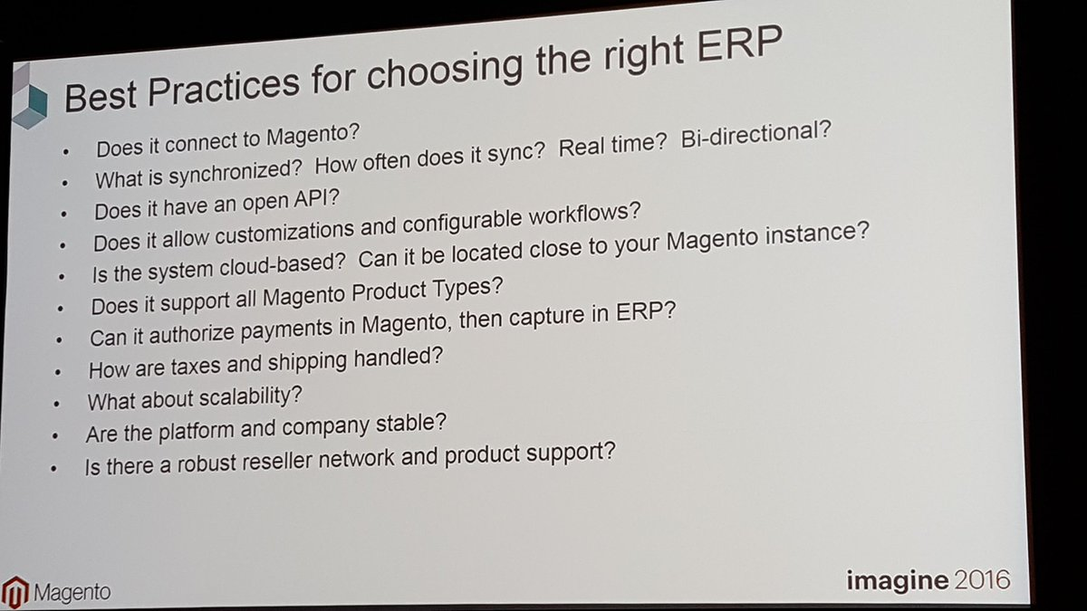 mgoldman713: How do you choose the right ERP for Magento integration? Let's learn the best practices at #MagentoImagine. https://t.co/4kbY1pMqHC