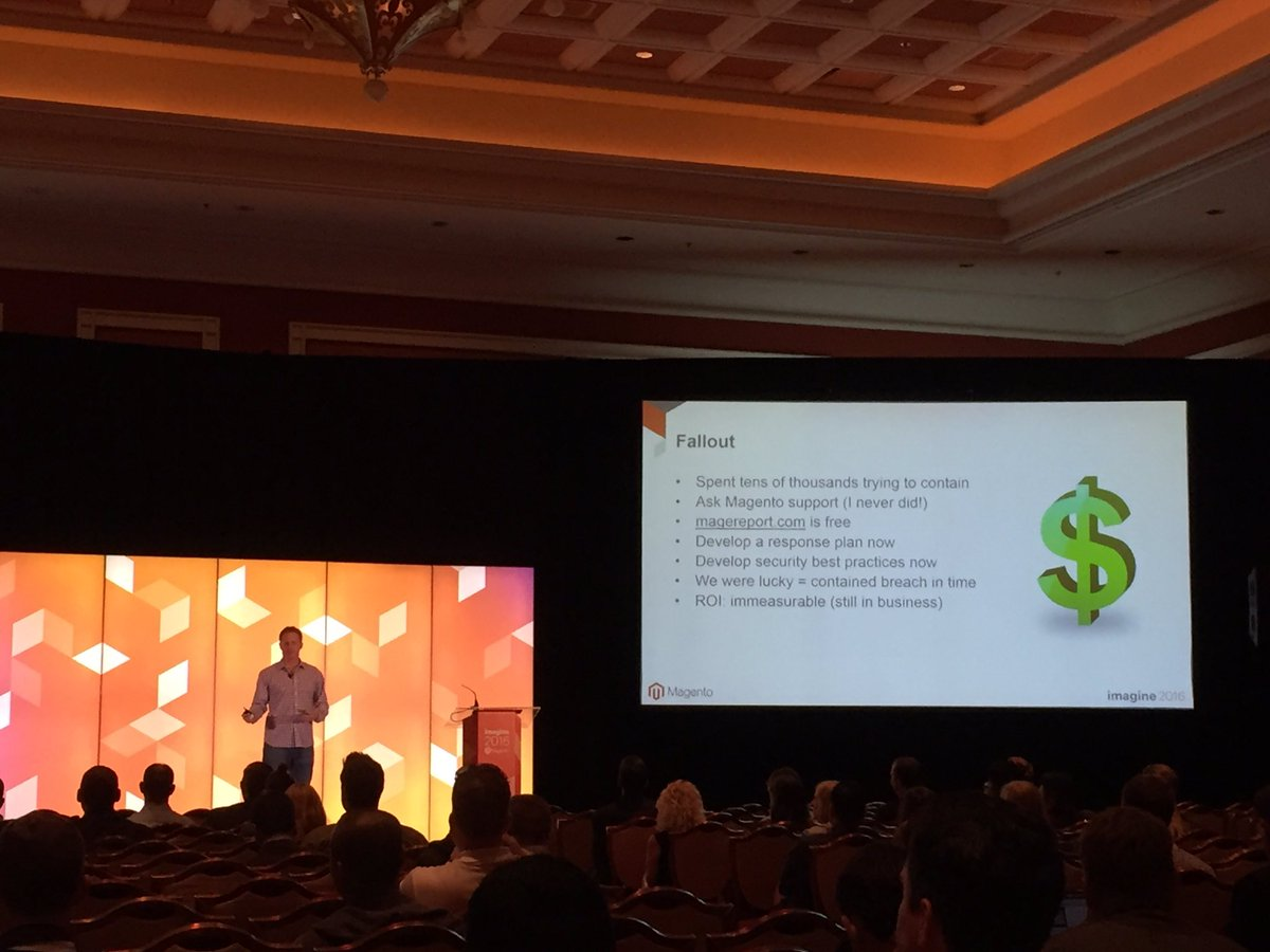 magento_rich: Lessons learned: Develop security best practices and mitigation plan in case of breach. #MagentoImagine https://t.co/68mU2h9Yh0