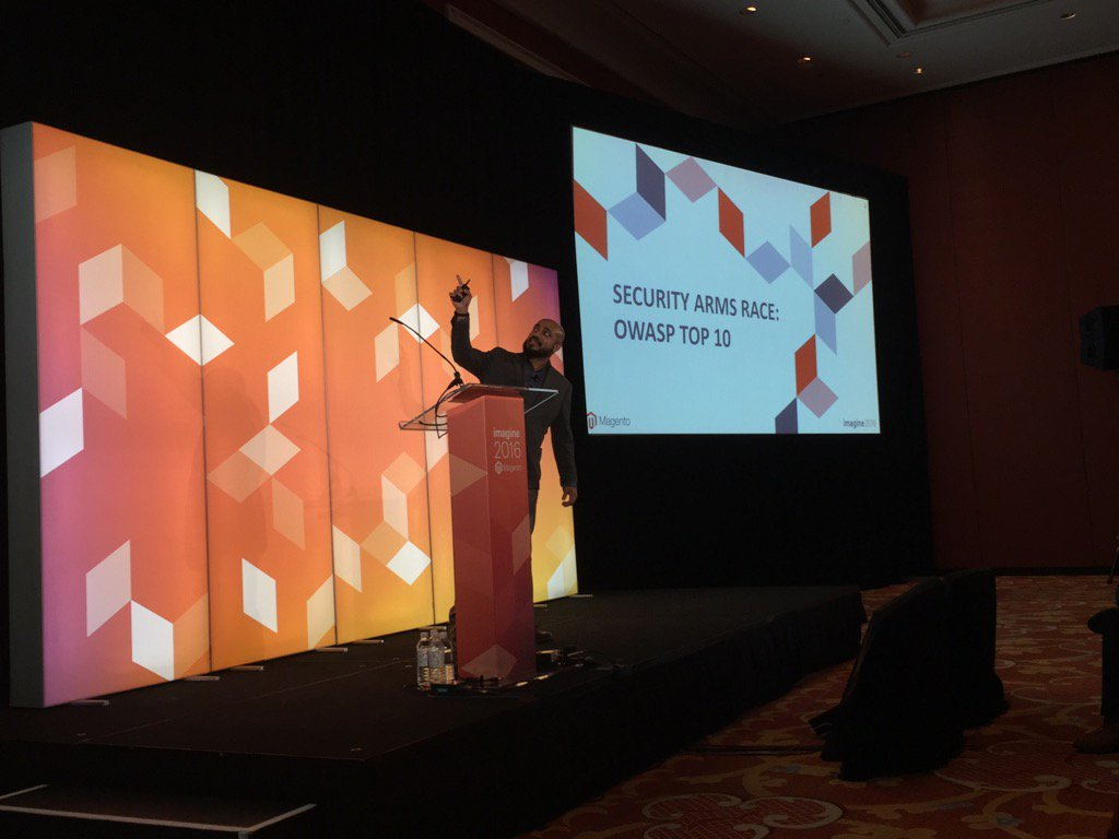 Blue_Bovine: #MagentoImagine #RealMagento Talesh chatting about using Magento framework to protect against OWASP top 10 https://t.co/YooDGhQIyN