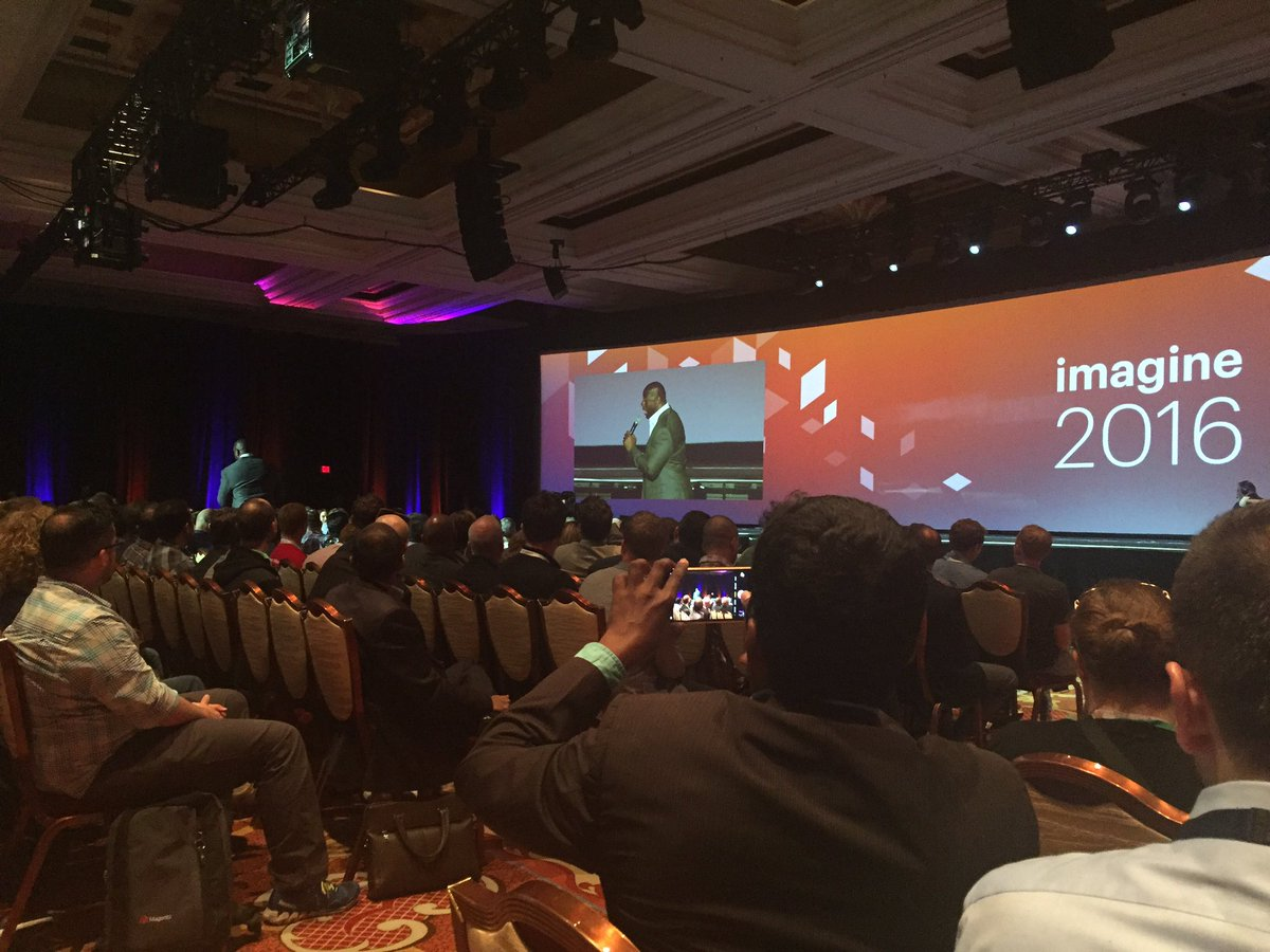 boldkrk: Magic Johnson on stage! #MagentoImagine https://t.co/9t2eGJXQ7O
