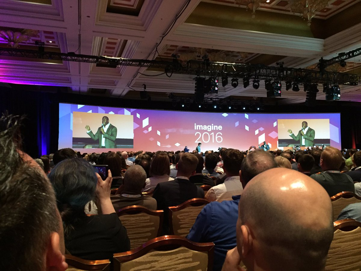 ProductPaul: Mark gets some well deserved 'magic' attention for leadership. @mklave1 #MagentoImagine https://t.co/T4g278Zk0k