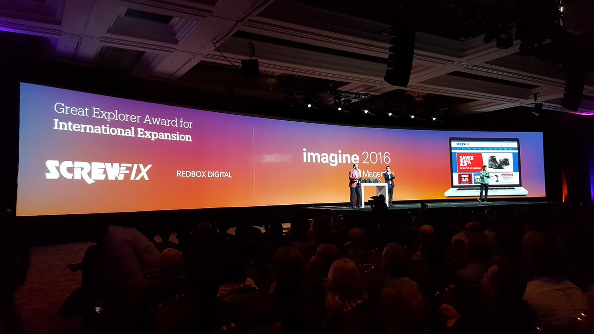 magento: Winners of the Great Explorer Award for International Expansion! @Screwfix @redboxdigital #MagentoImagine https://t.co/P2BGGMCshB
