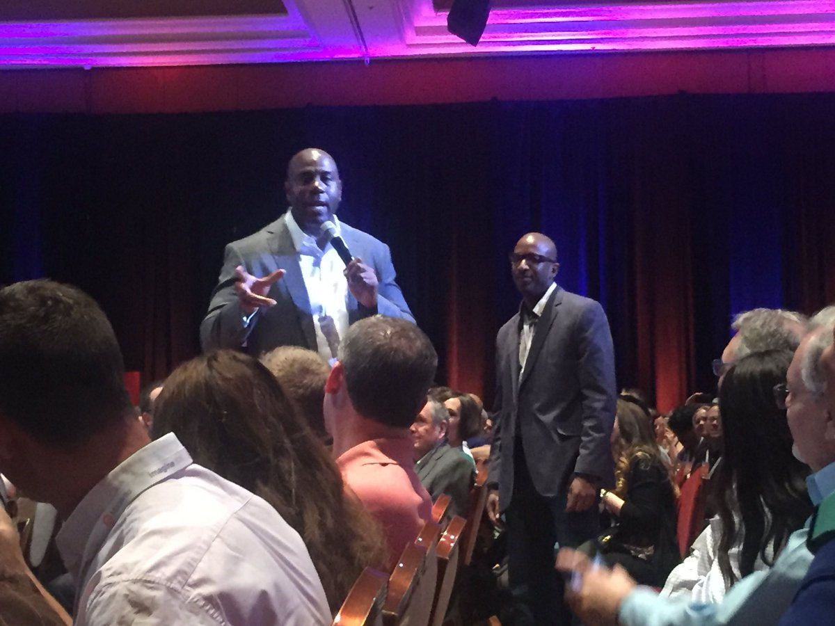 emily_a_wilhoit: Only at #MagentoImagine! Keynote speaker @MagicJohnson finds @blueacorn client @Everlast_ in the crowd! https://t.co/BxMLrastVY