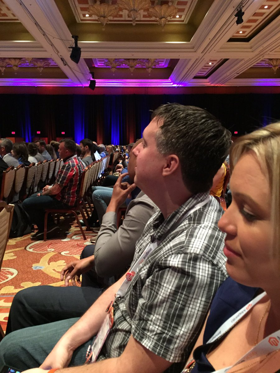 kab8609: Oh it's @MagentoJenna and @JoshuaSWarren listening to @MagicJohnson #MagentoImagine https://t.co/ZOjSYBrzts
