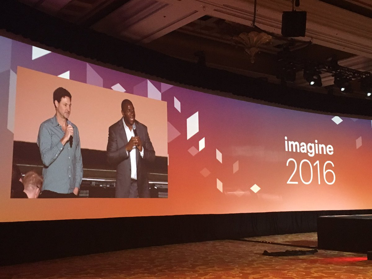 magento: . @MagicJohnson & @mklave1 on the big screen for the #Q&A #MagentoImagine https://t.co/HzkKDF04Uu