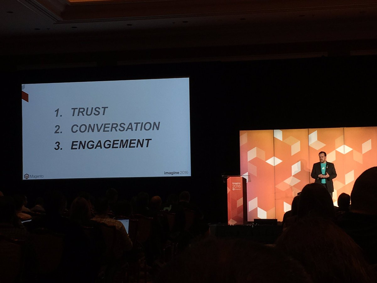 monocat: Three key factors to Winning the Requirements game with @robtull Trust. Conversation. Engagement. #MagentoImagine https://t.co/5zl7psTOro