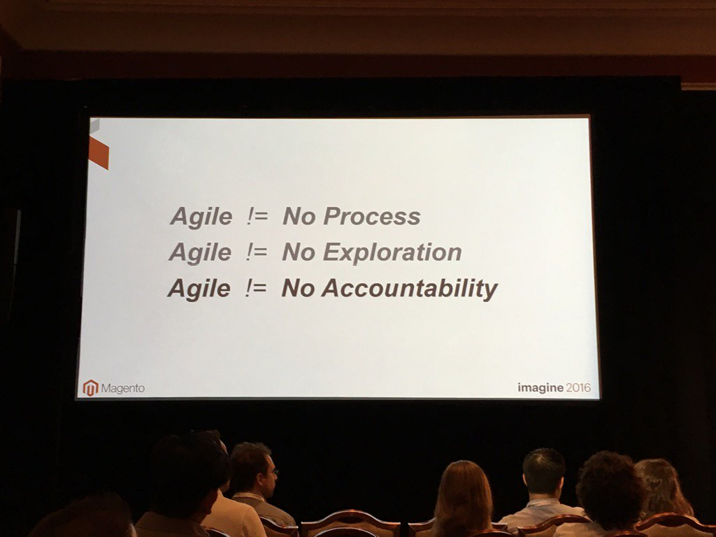 monsoonBharat: Agile doesn't mean no process or accountability or discovery #Imagine2016 #MagentoImagine  #agile https://t.co/BS4XHLzHMh