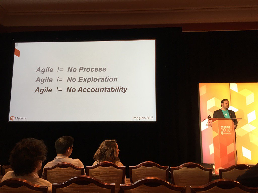 jonathanmhodges: #MagentoImagine @robtull explains what #agile does not mean and how to become agile. https://t.co/IiP4KxIGIR