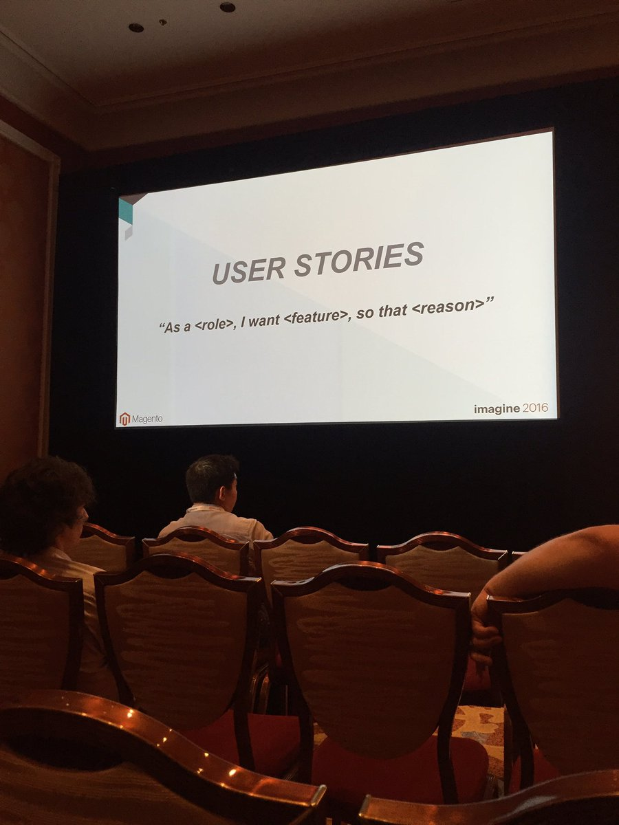 classyllama: Rob Tull covers the basic but powerful user story tool for scoping. Make sure you include the 'why'! #MagentoImagine https://t.co/mCxggOowaU