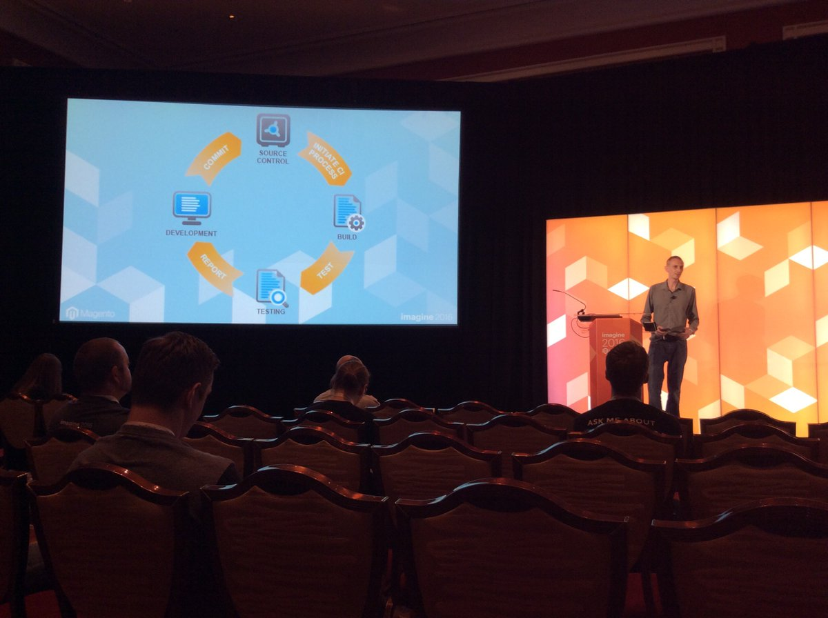 alistairstead: Speed up delivery, building quality as default. Gain feedback + confidence hourly, daily #MagentoImagine @jcowie https://t.co/uG8lEeycSn