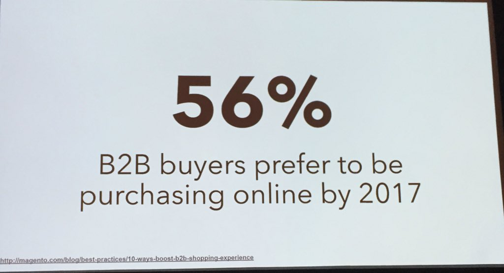 DCKAP: B2B is shifting towards online and mobile channels but business complexity is a major barrier. #MagentoImagine https://t.co/Y07D6bfwsV