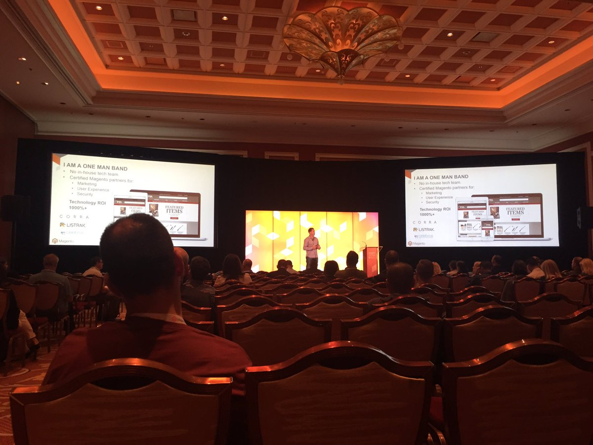 redboxdigital: Great talk earlier by Alex Cranmer, the 'one man band' @magento success story @IMA_USA #MagentoImagine https://t.co/B3FXJLse3R