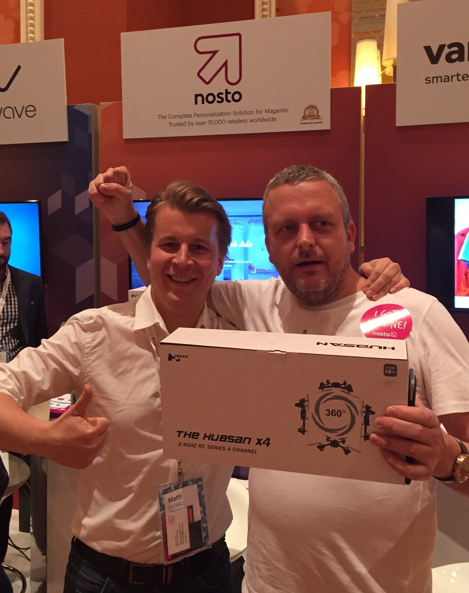 NostoSolutions: Hoorah!! Heddwyn from @iwebtweets enjoying his new Nosto drone. #MagentoImagine https://t.co/MebyYYfh1e