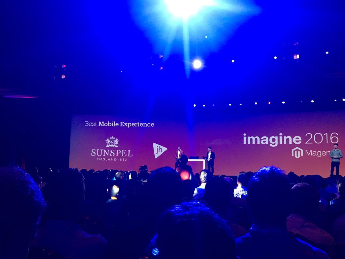 ebizmarts: Congrats @wearejh & @Sunspel for the Best Mobile Experience award at #MagentoImagine, well done guys! https://t.co/6e0mSnJXbR