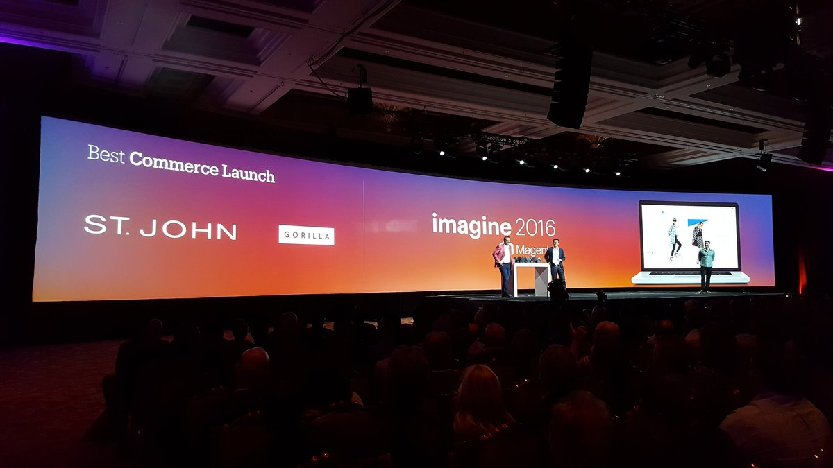 magento: Congrats to the winners of the Best #Commerce Launch Award! @StJohnKnits @GorillaCommerce #MagentoImagine https://t.co/gfZdMFdZAX