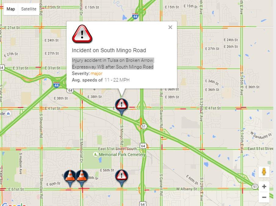 Traffic Alert Injury Wreck In Tulsa On Broken Arrow Expressway Wb