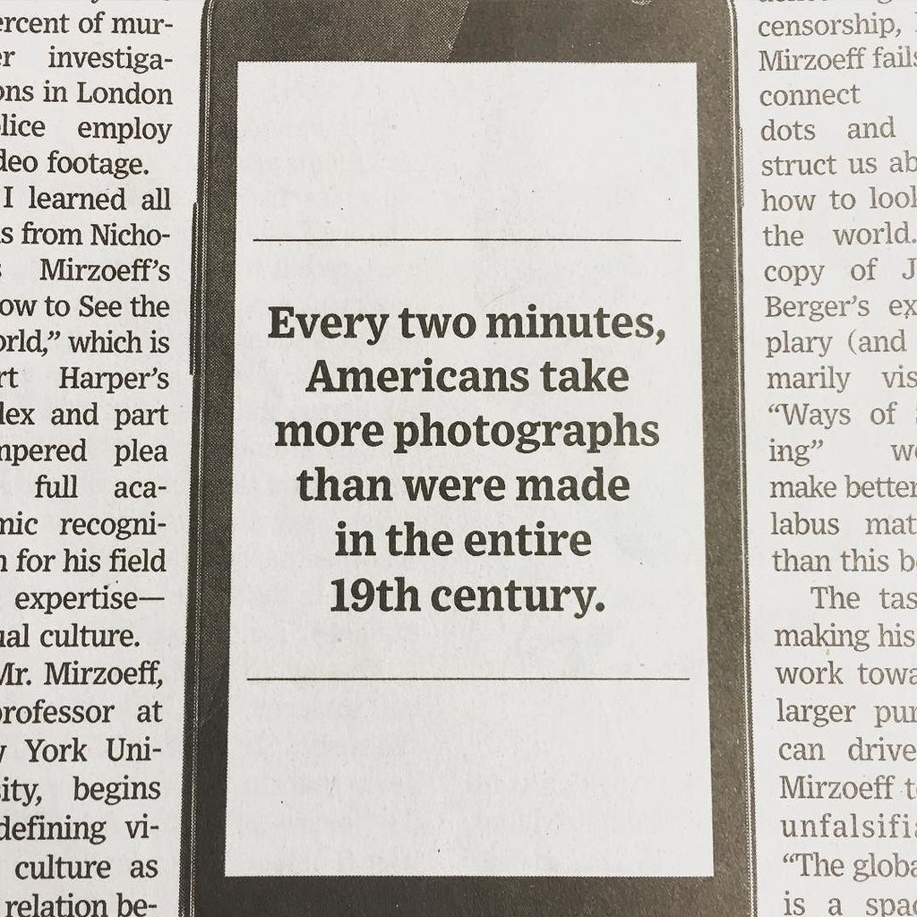 Every two minutes, Americans take  more photographs than were made in the entire 19th cent… https://t.co/zSlyTagU0Q https://t.co/bQWar2erJ5