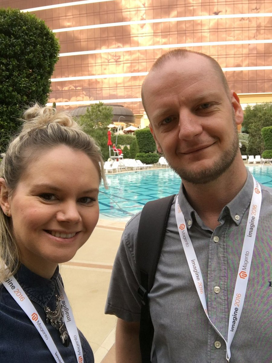 ThePixelUK: Live from #MagentoImagine: The Pixel's Project Manager Kath & Development Manager Rob gearing up for the day... https://t.co/jLzSGCpQpD