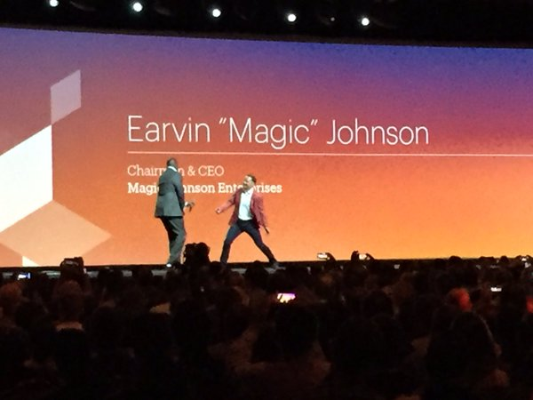 Speaker_Experts: This week: @JC_Climbs intros @MagicJohnson 2 stage #MagentoImagine @magento #chestbump (photo cred. @KFlogood) https://t.co/NRhAMPWLNW