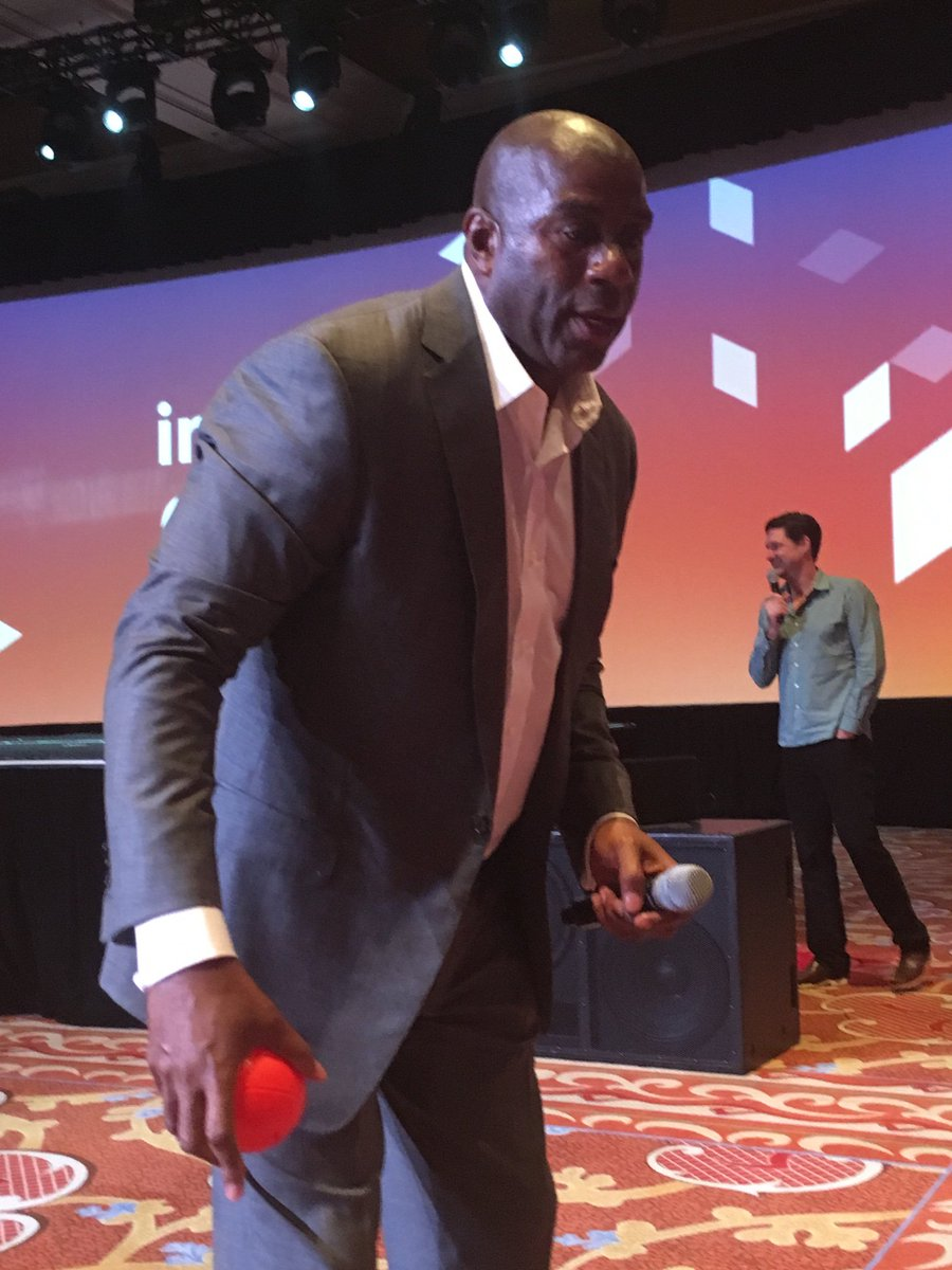 mediaspa: I mean, the ball just looks SOOO small in @MagicJohnson's hand!nn#MagentoImagine #ReaMagento @magento #ecommerce https://t.co/ZKawmp9Efg