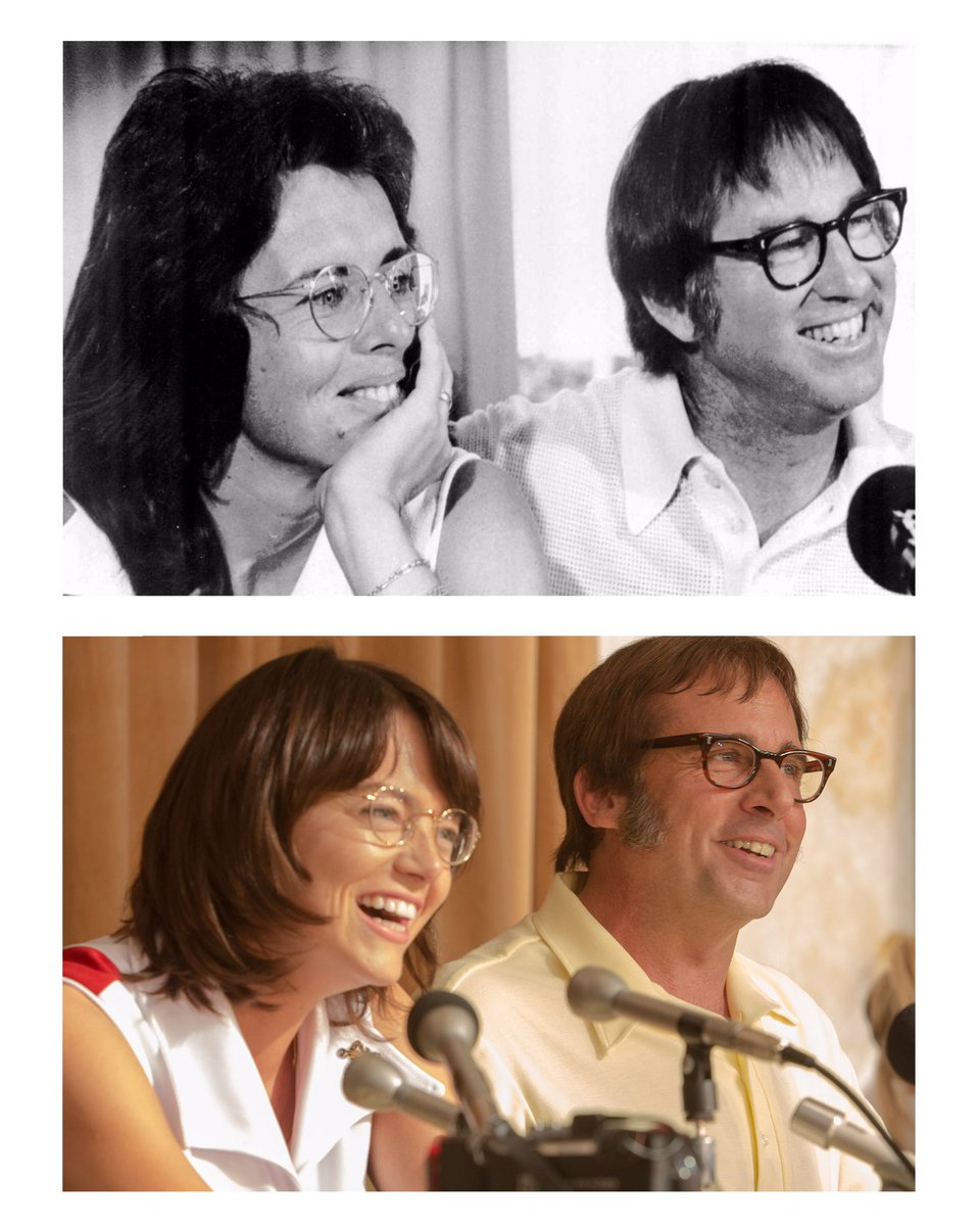 THEN & NOW: #BobbyRiggs & me at #BattleOfTheSexes presser in 1973; @stevecarell and #EmmaStone as us, filming now!