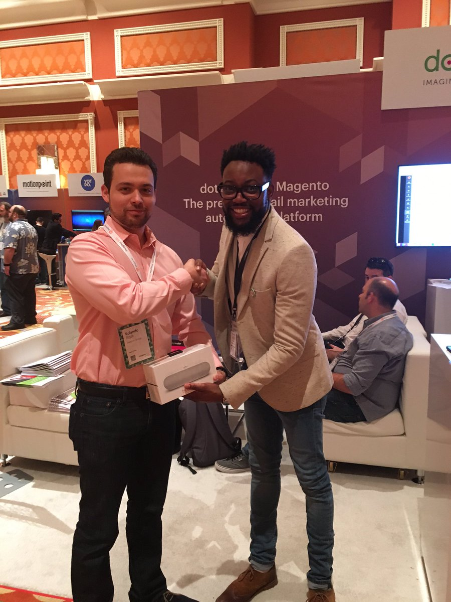 dotmailer: Congratulations to Rolando Rojas for winning our custom beats pill+ speakers at #MagentoImagine https://t.co/XIFexp8n3c