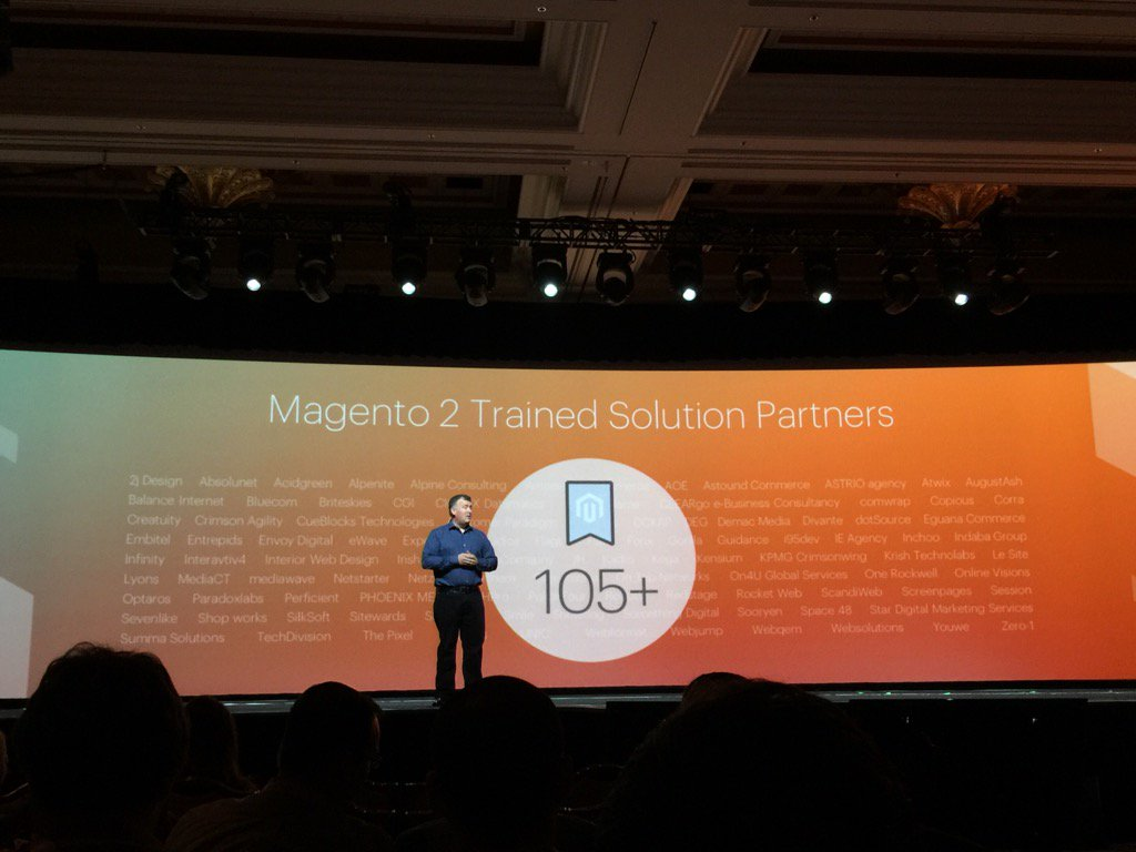JoshuaSWarren: The @Creatuity logo featured twice on big screen in the M2 keynote this morning! Thanks @magento! #MagentoImagine https://t.co/GV7MKthfpU