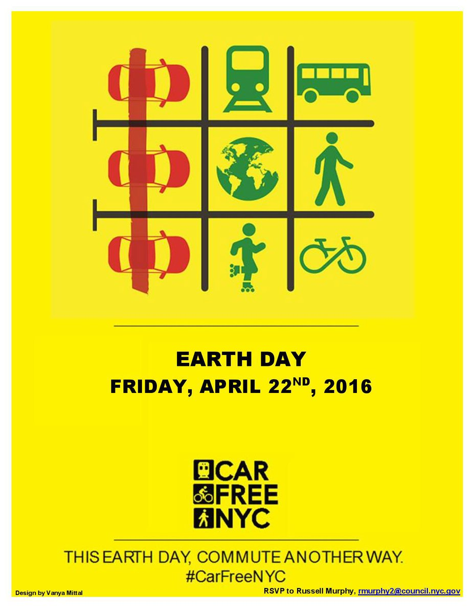 Did you know #carfreenyc is 4/22 on Earth Day? We challenge you to stay car-free for the day! https://t.co/auEnRvKtlG