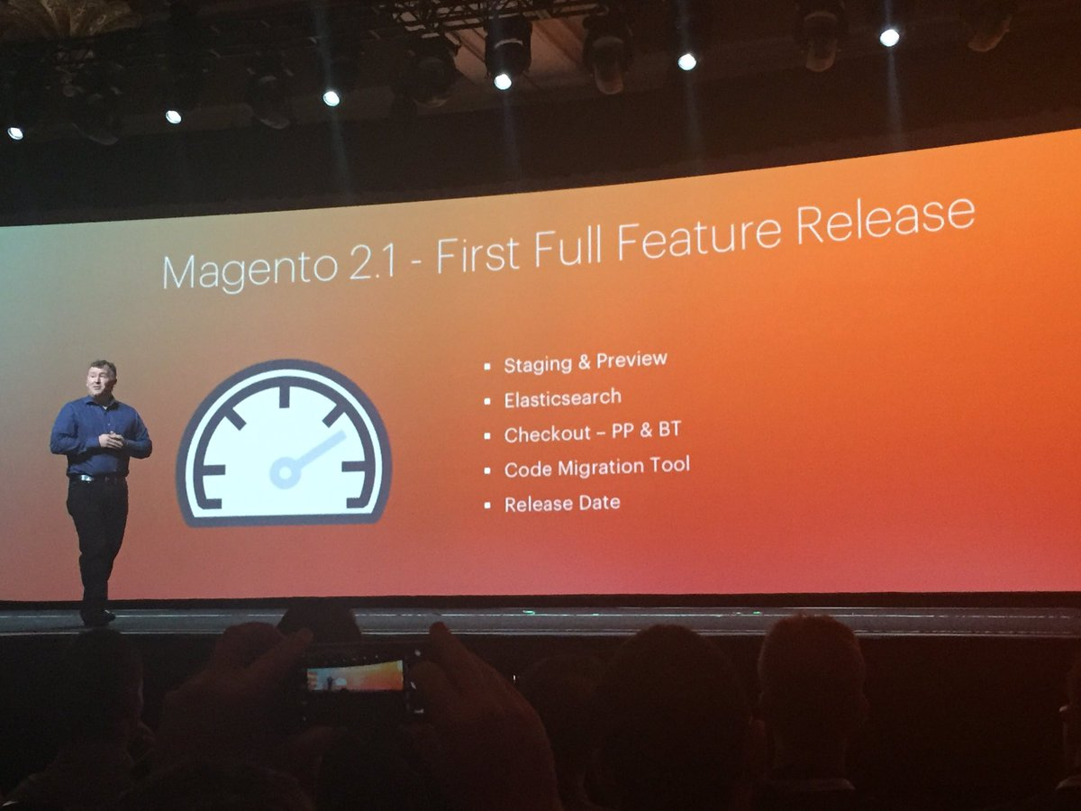 ignacioriesco: #Magento2 new version 2.1. #MagentoImagine https://t.co/EEw2VRmt4t