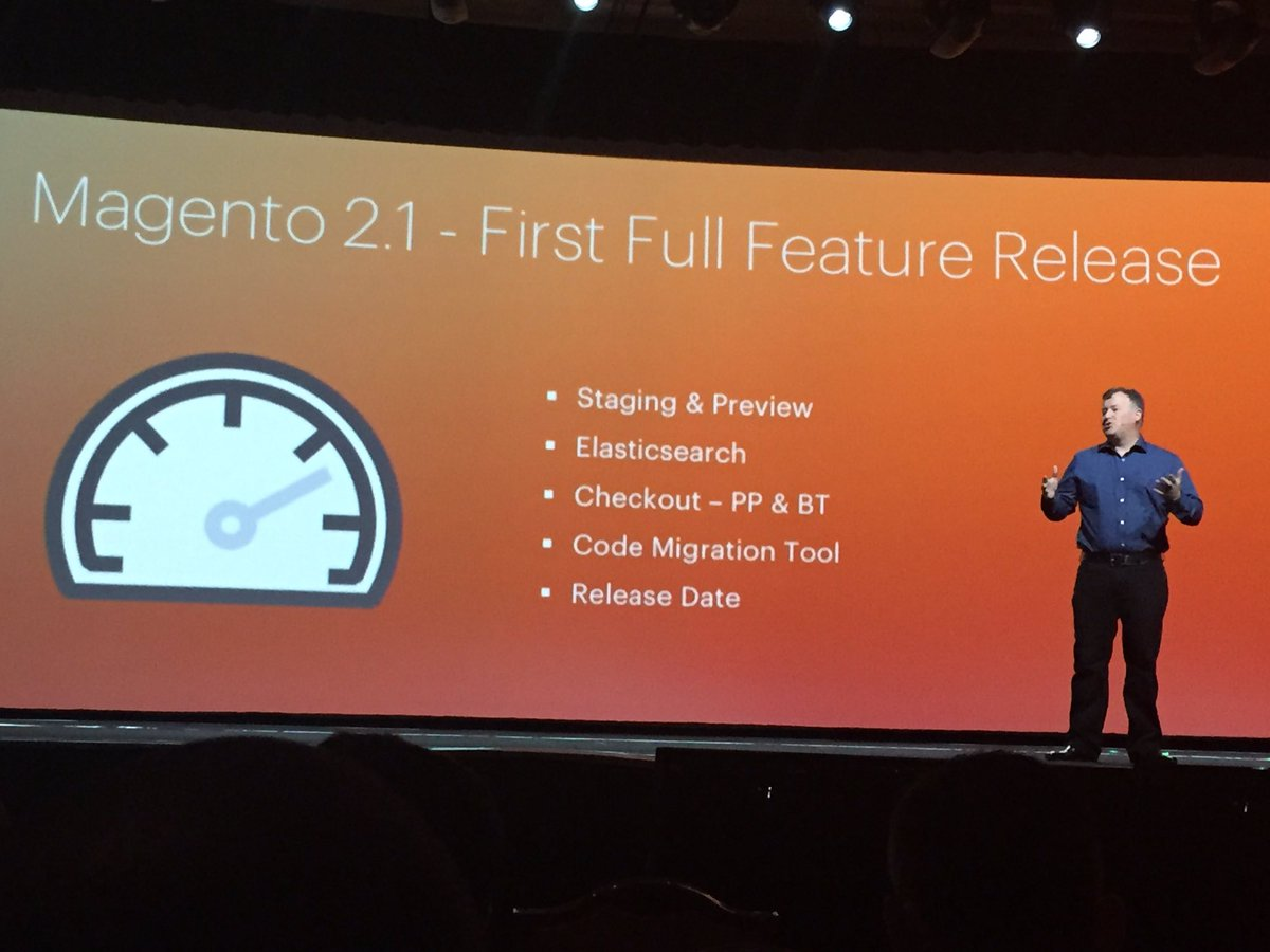 D_n_D: @ProductPaul annonce the new Magento 2.1 ! #MagentoImagine https://t.co/vhN9fPt5Z6