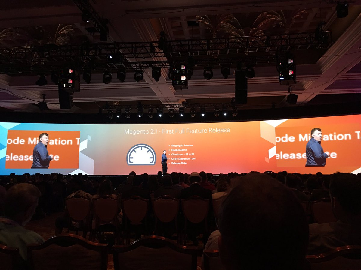 ebizmarts: As expected, @magento 2.1 announced by @ProductPaul at #MagentoImagine, lot of new features added since launch of M2 https://t.co/DGKNiDNtkw