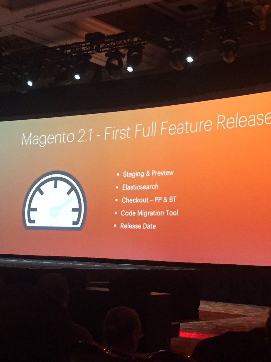 classyllama: Magento v2.1 will be available in June!  New features en route! #MagentoImagine https://t.co/Kcc6LpAUG2