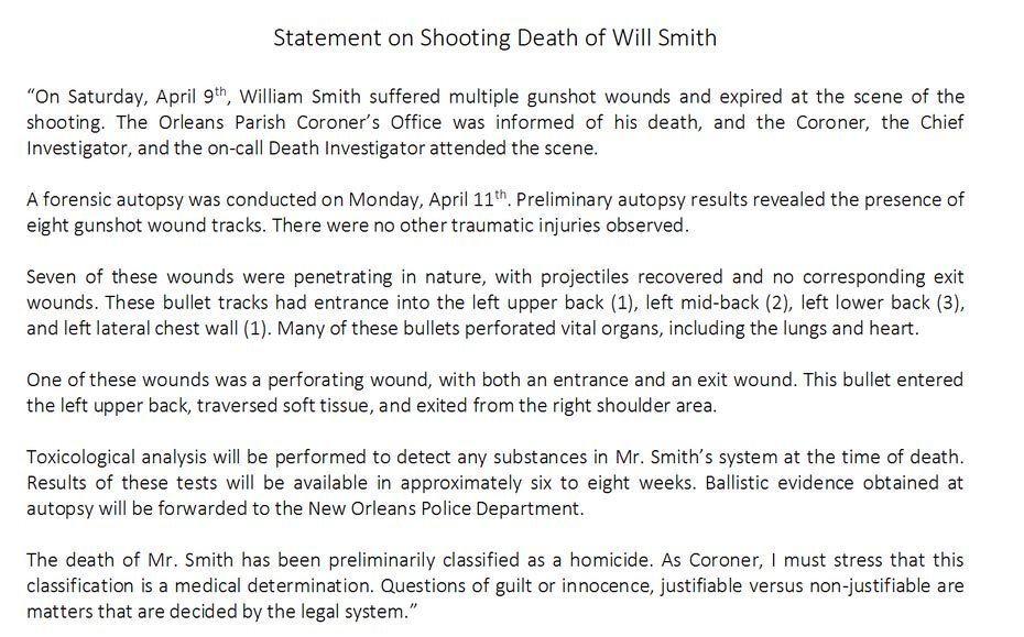 Here'S The Official Coroner'S Report On The Shooting Of Will Smith