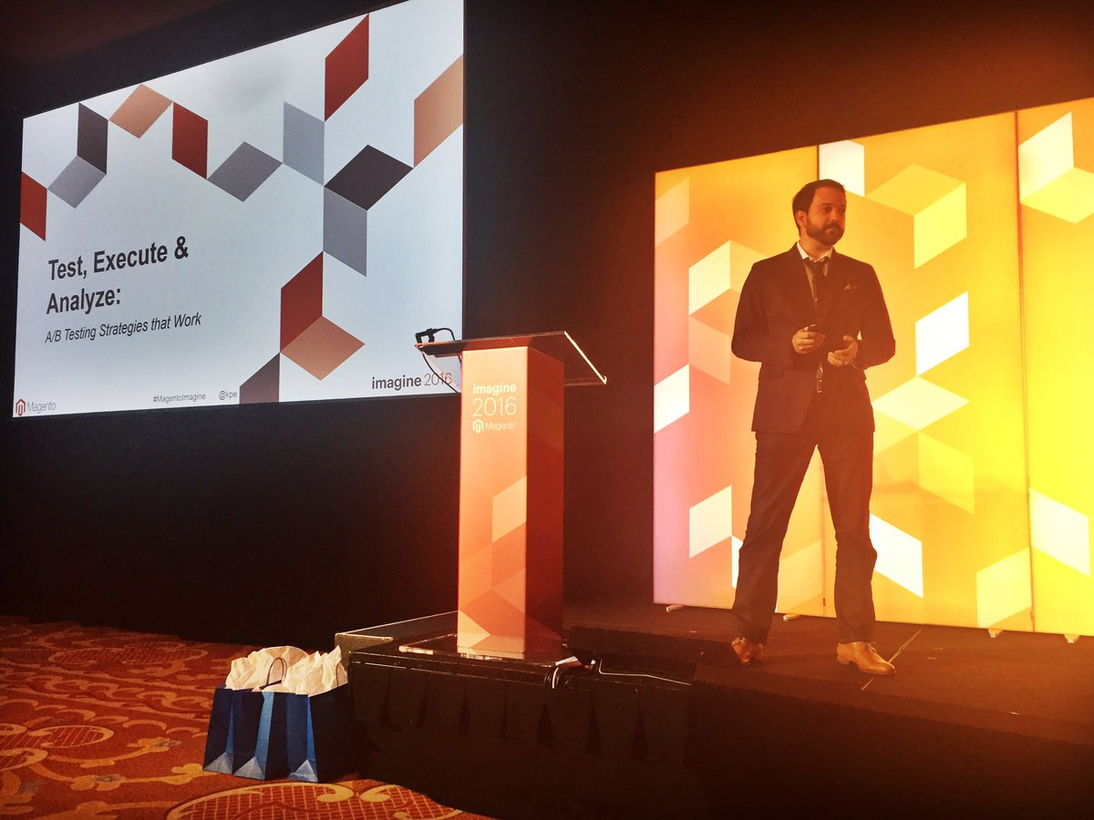 gelizabeths: .@kpe takes the stage to drop knowledge on the value of testing #MagentoImagine @blueacorn https://t.co/GKnuS08cYP