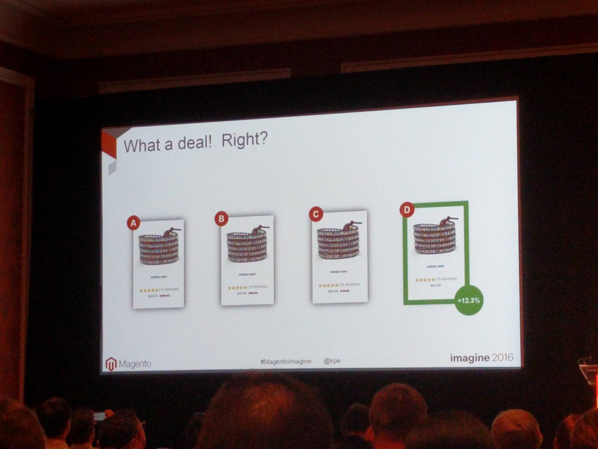 chrisjguerra: Dropping the MSRP lead to a 12% increase in RPV for one jewelry client #MagentoImagine https://t.co/8GIj53U26H