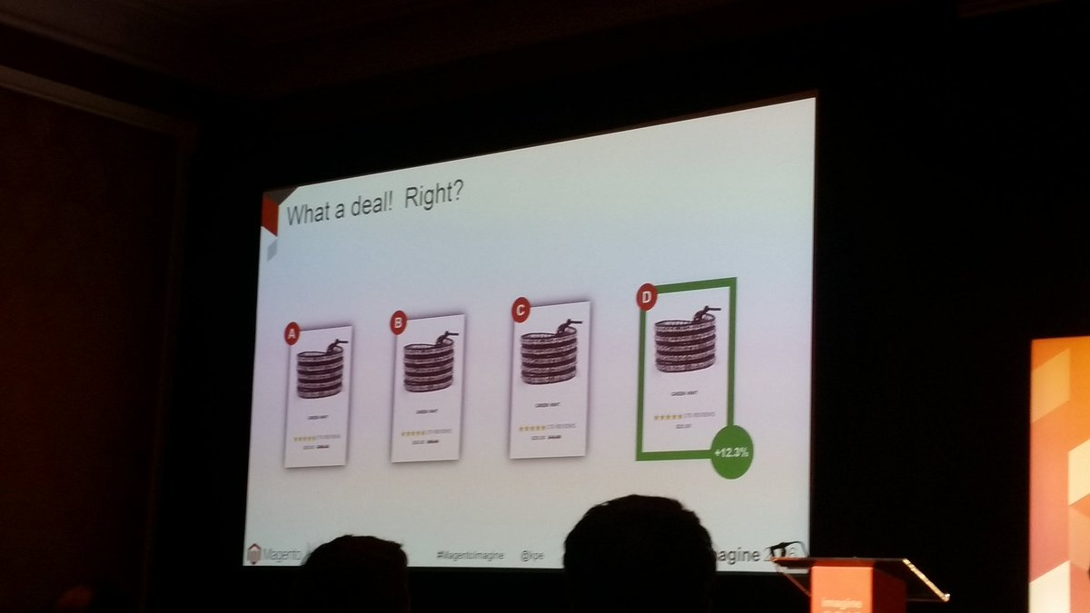 helenelefebvre: Test your pricing strategy! #ABTests  #MagentoImagine @kpe breakout session https://t.co/km72ZpFsj0