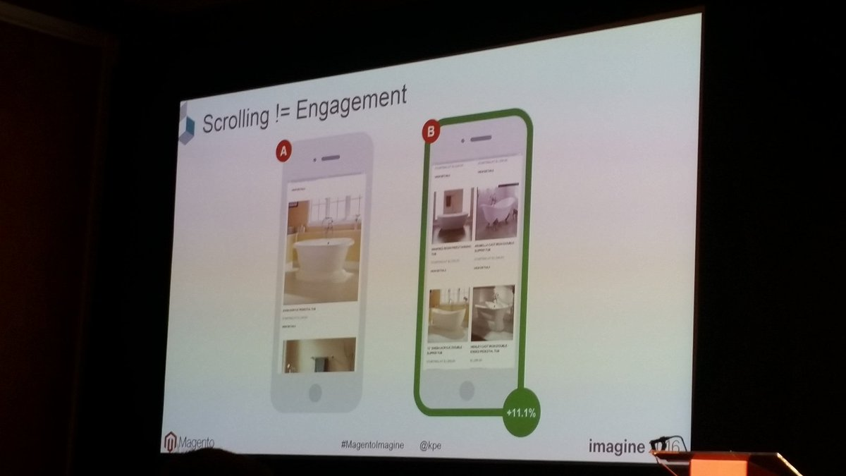 helenelefebvre: This will fuel my conversation with UX designers ! Scrolling != engagement #MagentoImagine #abtests https://t.co/QpAkVFMOGz