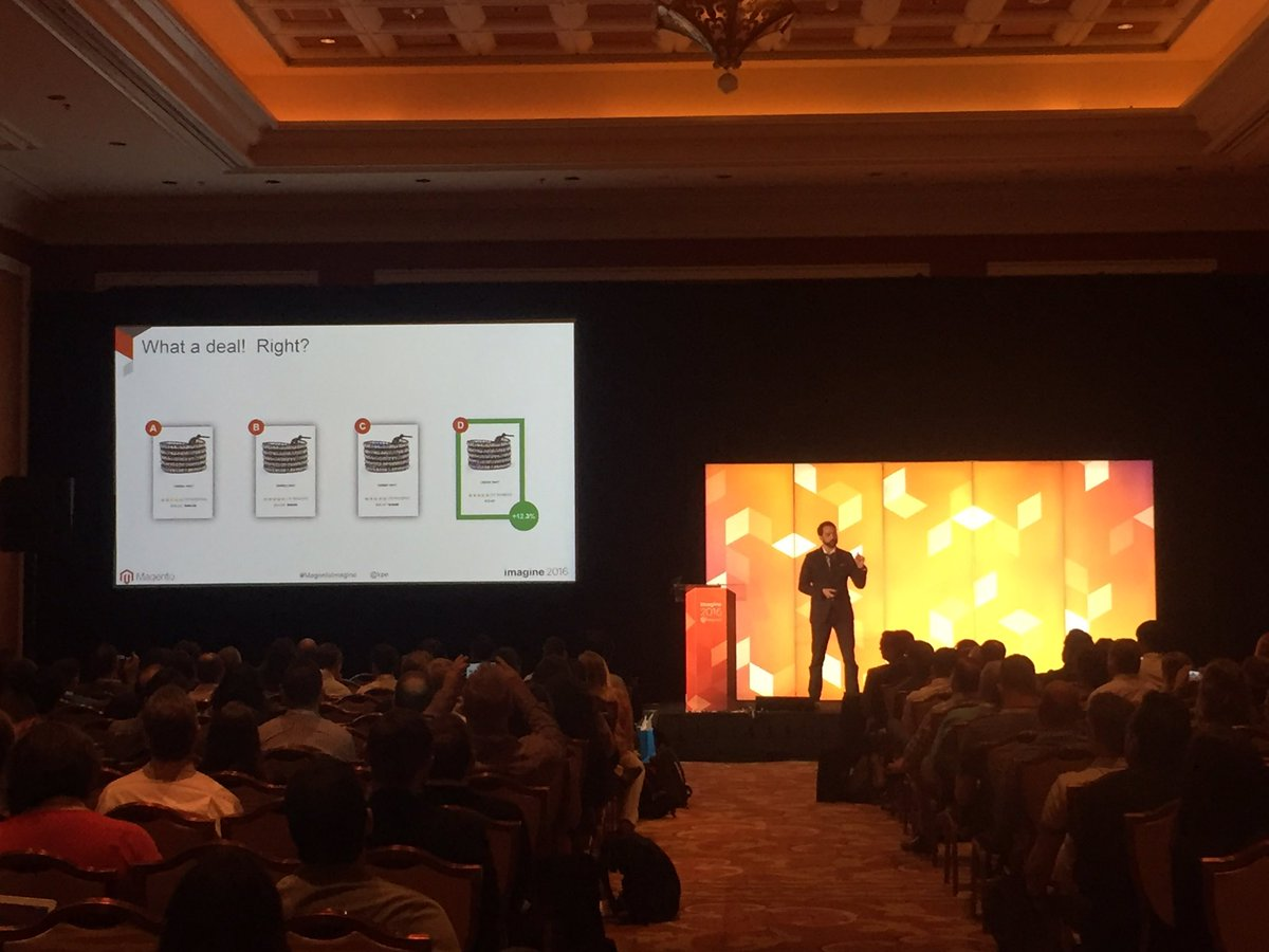 blueacorn: 'Best practices don't apply to everyone. It's important to test for your customers.' - @kpe #MagentoImagine https://t.co/QJI7R9Q0Ed