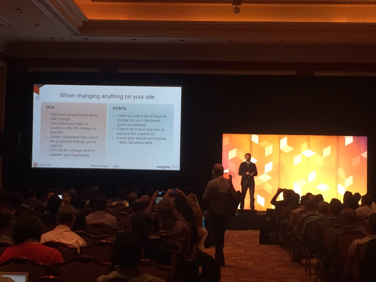blueacorn: 'Gather qualitative & qualitative data to back up why you're making change. Then A/B test' @kpe #MagentoImagine https://t.co/Z7QjzVZiRV
