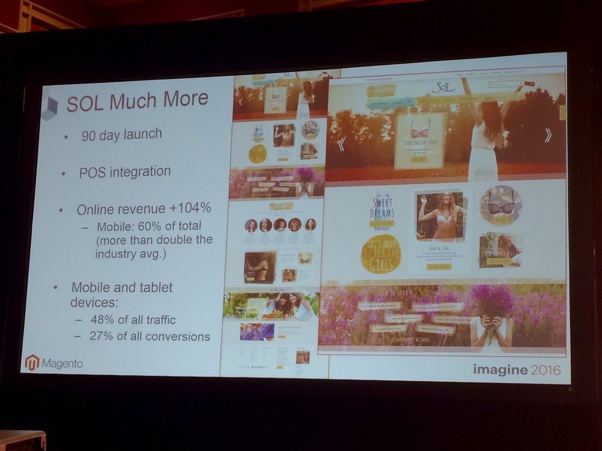 guidance: SOL: We R having incredible growth esp on mobile. During the holidays, + 100 percent #MagentoImagine #Magento2 https://t.co/dX5lSK82fM
