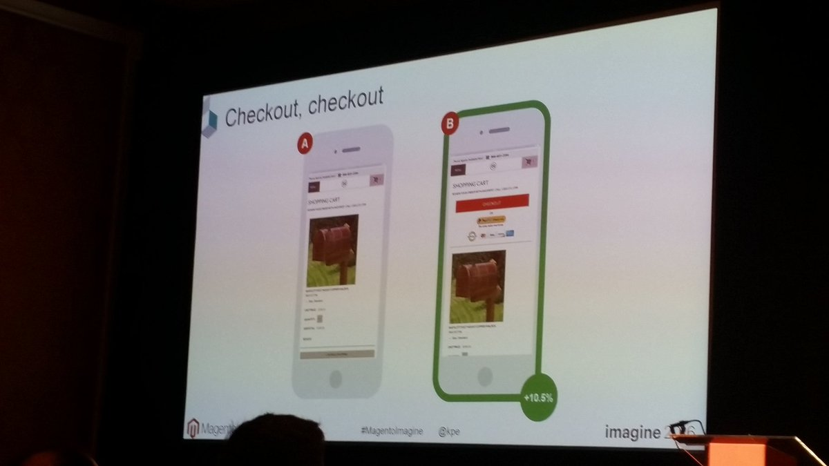 helenelefebvre: Cart button on top is efficient, yet you should test it :) #MagentoImagine #abtests https://t.co/wqjlVw45xj